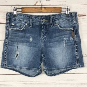 Silver Jeans Frances Ripped Destroyed Shorts 27